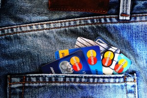 4 credit cards in a pocket