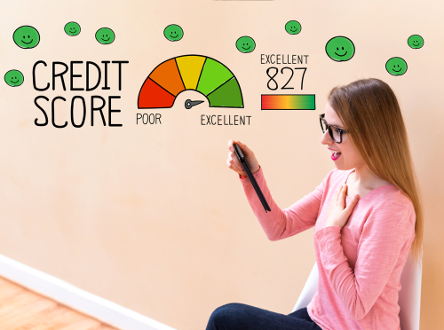 Woman looking at her credit score