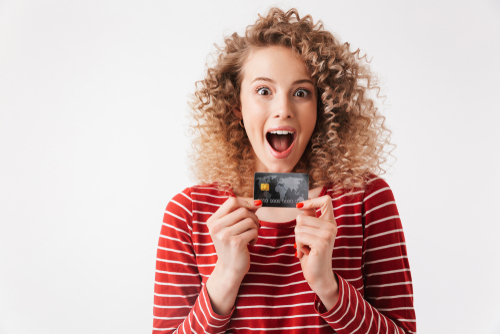 Woman with a low interest credit card