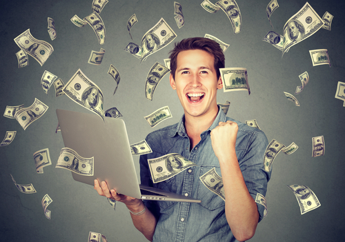 Man online making dollars from home