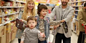 photo of family at grocery store