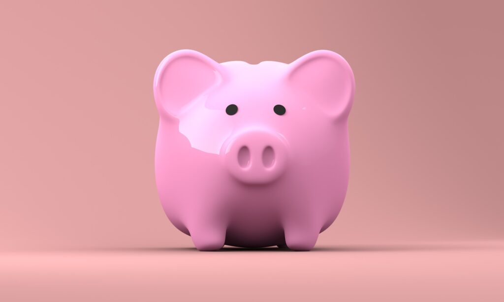 Pink piggy bank for teaching kids about money