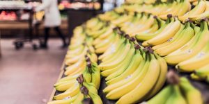closeup of bananas in grocery store